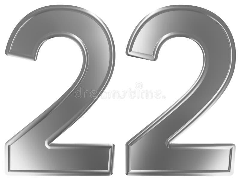 Liczebnik 22, dwadzieścia dwa, odizolowywający na białym tle, 3d odpłaca się ilustracja wektor