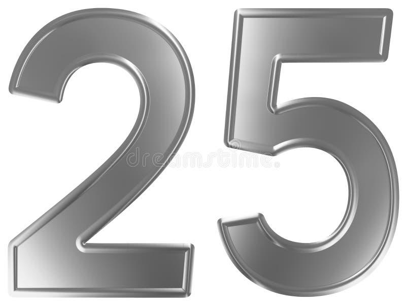 Liczebnik 25, dwadzieścia pięć, odizolowywający na białym tle, 3d odpłaca się ilustracja wektor