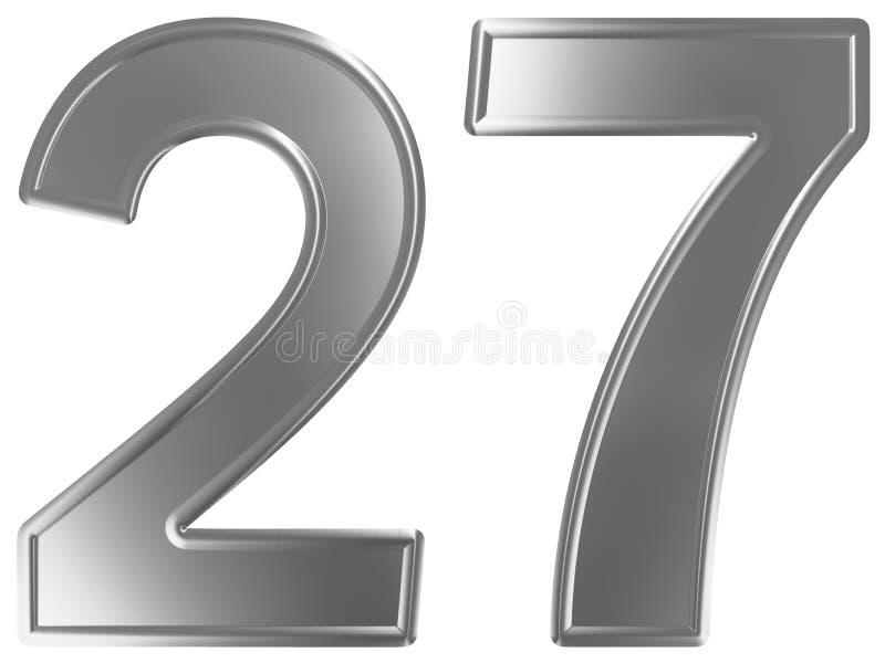 Liczebnik 27, dwadzieścia siedem, odizolowywający na białym tle, 3d odpłaca się ilustracji