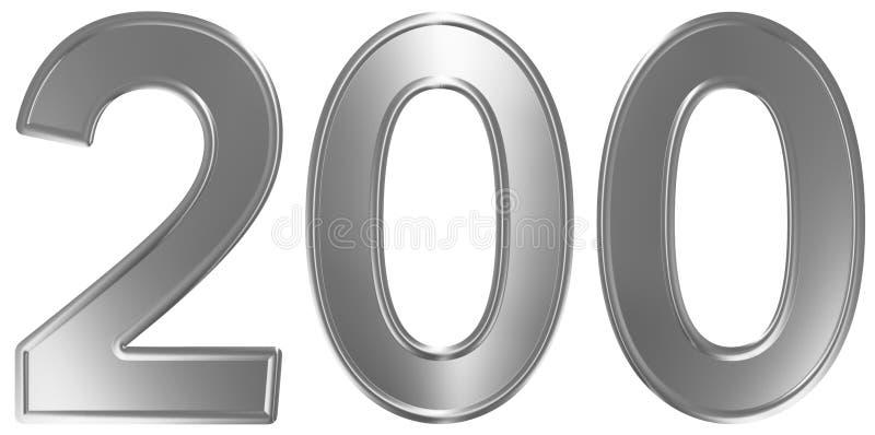Liczebnik 200, dwieście, odizolowywający na białym tle, 3d odpłaca się ilustracji