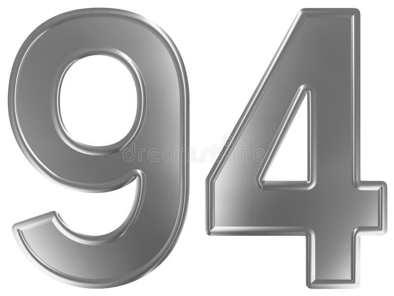 Liczebnik 94, dziewięćdziesiąt cztery, odizolowywający na białym tle, 3d odpłaca się royalty ilustracja