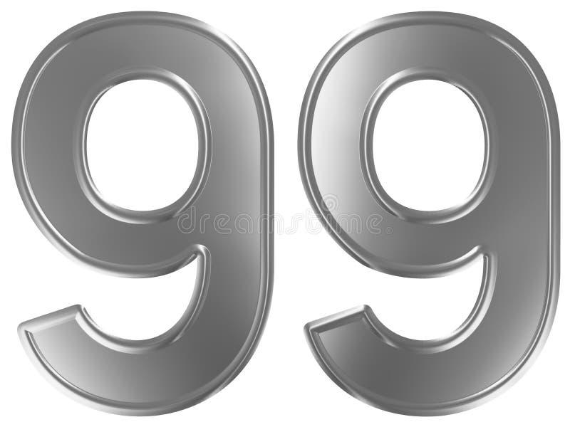 Liczebnik 99, dziewięćdziesiąt dziewięć, odizolowywający na białym tle, 3d odpłaca się ilustracja wektor