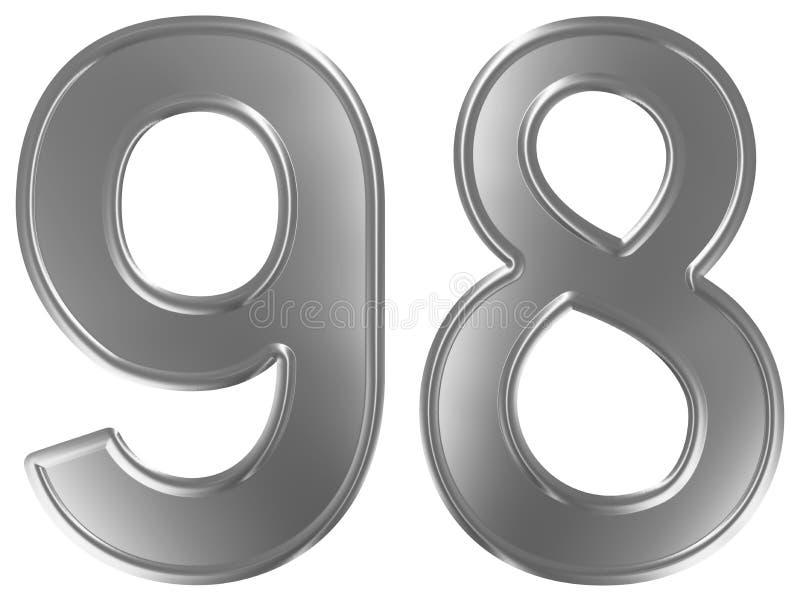 Liczebnik 98, dziewięćdziesiąt osiem, odizolowywający na białym tle, 3d odpłaca się ilustracja wektor