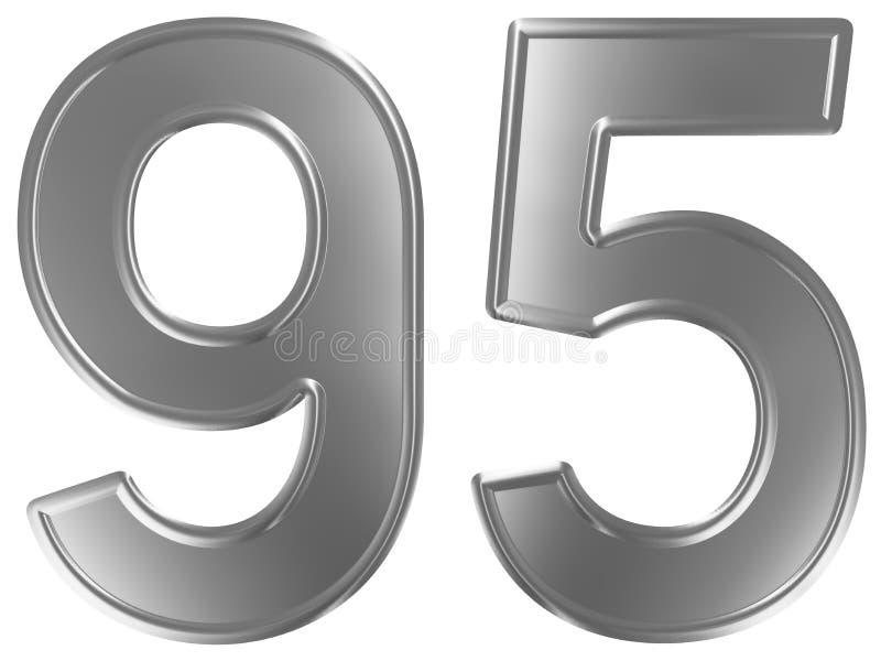Liczebnik 95, dziewięćdziesiąt pięć, odizolowywający na białym tle, 3d odpłaca się ilustracja wektor