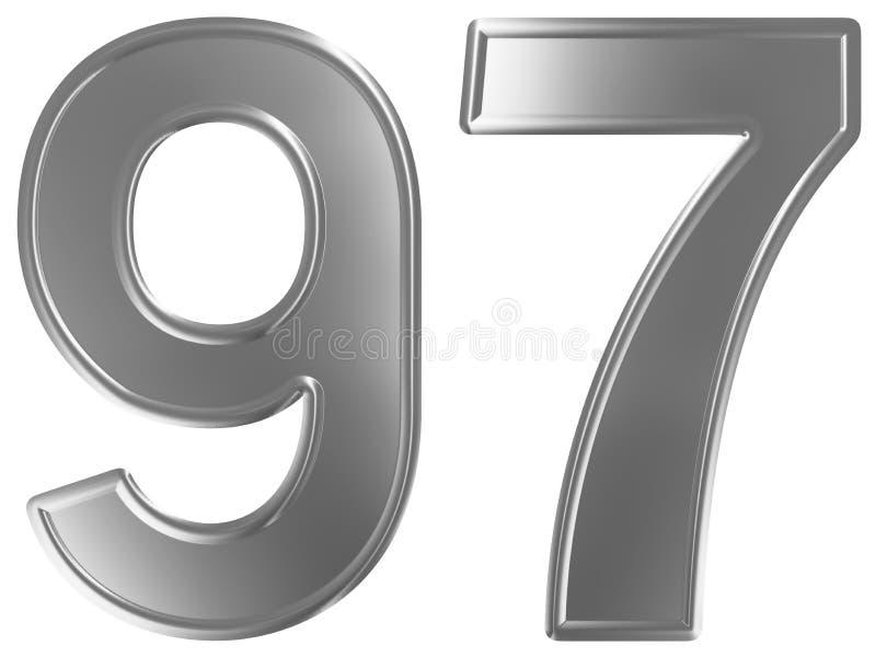 Liczebnik 97, dziewięćdziesiąt siedem, odizolowywający na białym tle, 3d odpłaca się ilustracja wektor
