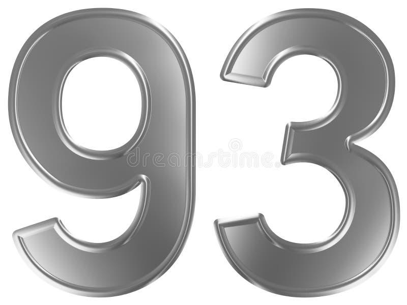 Liczebnik 93, dziewięćdziesiąt trzy, odizolowywający na białym tle, 3d odpłaca się ilustracja wektor
