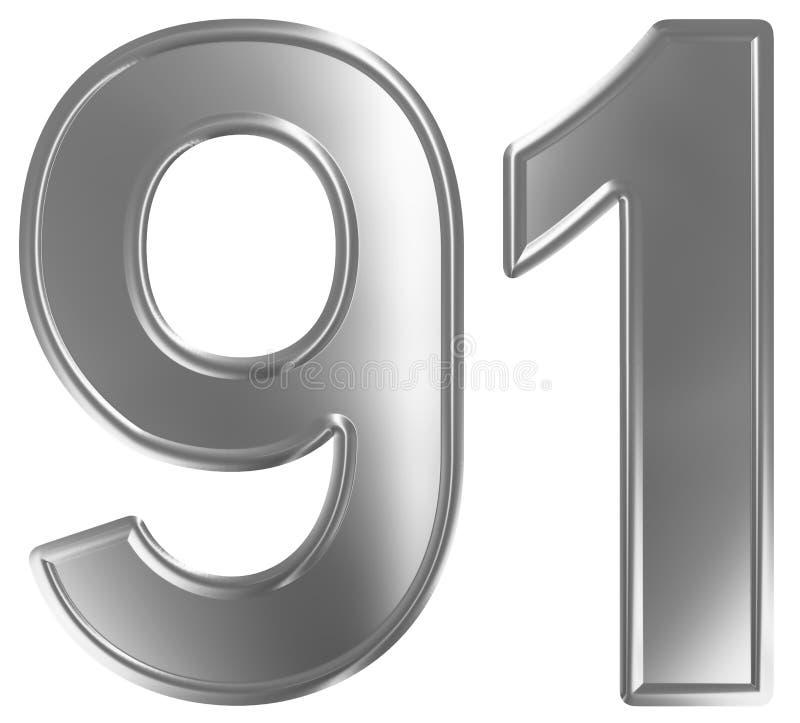 Liczebnik 91, dziewiećdziesiąt jeden, odizolowywający na białym tle, 3d odpłaca się ilustracji