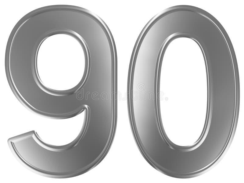 Liczebnik 90, dziewiećdziesiąt, odizolowywający na białym tle, 3d odpłaca się royalty ilustracja