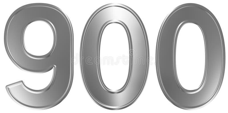 Liczebnik 900, dziewiećset, odizolowywający na białym tle, 3d odpłaca się ilustracji