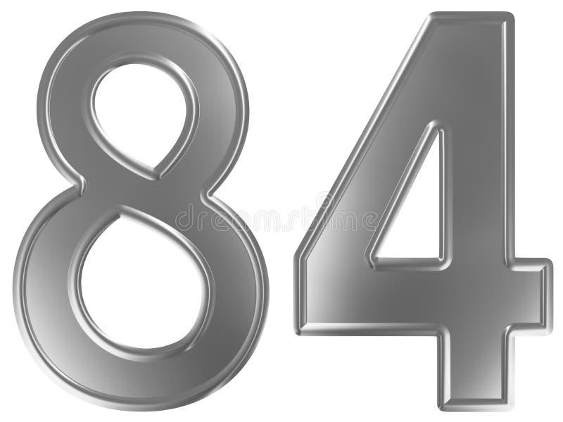 Liczebnik 84, osiemdziesiąt cztery, odizolowywający na białym tle, 3d odpłaca się royalty ilustracja