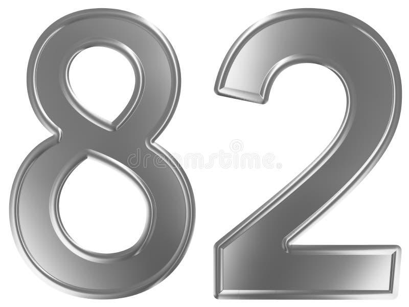 Liczebnik 82, osiemdziesiąt dwa, odizolowywający na białym tle, 3d odpłaca się ilustracja wektor