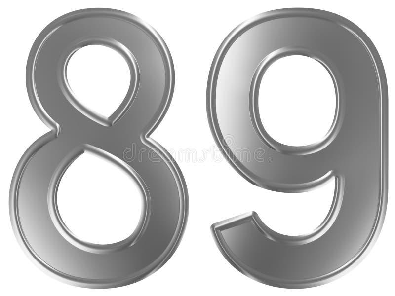 Liczebnik 89, osiemdziesiąt dziewięć, odizolowywający na białym tle, 3d odpłaca się ilustracji