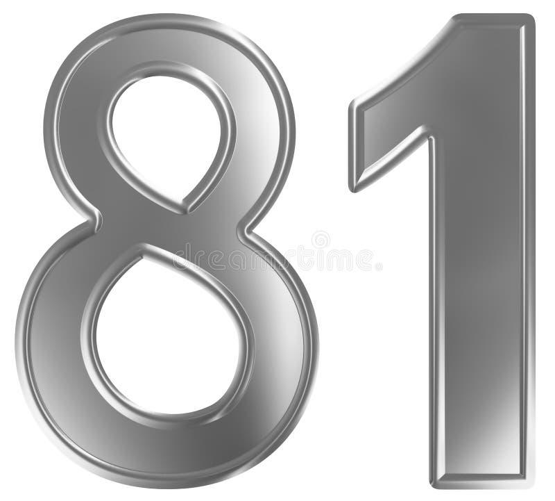 Liczebnik 81, osiemdziesiąt jeden, odizolowywający na białym tle, 3d odpłaca się ilustracji