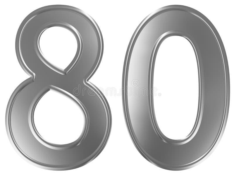Liczebnik 80, osiemdziesiąt, odizolowywający na białym tle, 3d odpłaca się royalty ilustracja