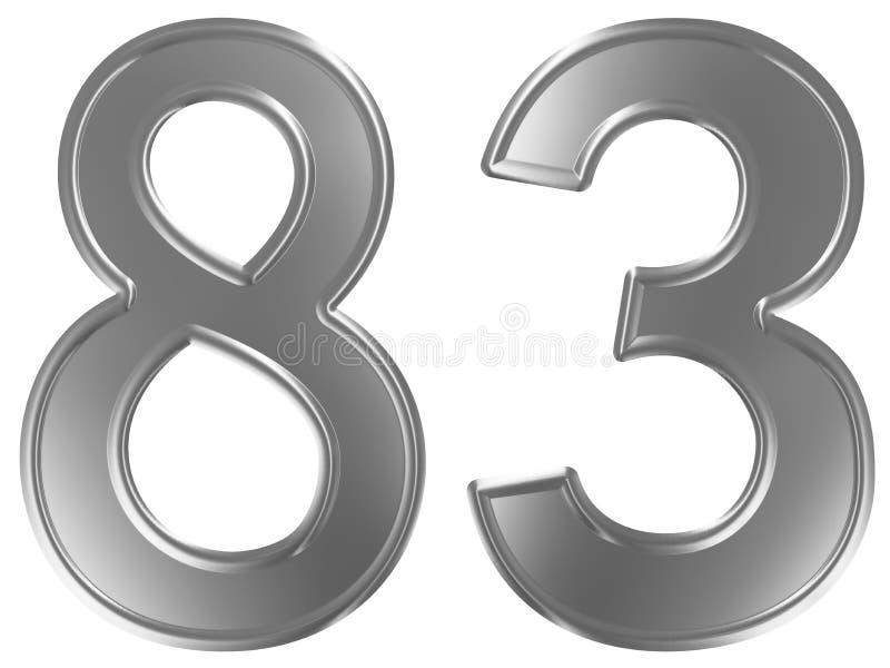 Liczebnik 83, osiemdziesiąt trzy, odizolowywający na białym tle, 3d odpłaca się royalty ilustracja