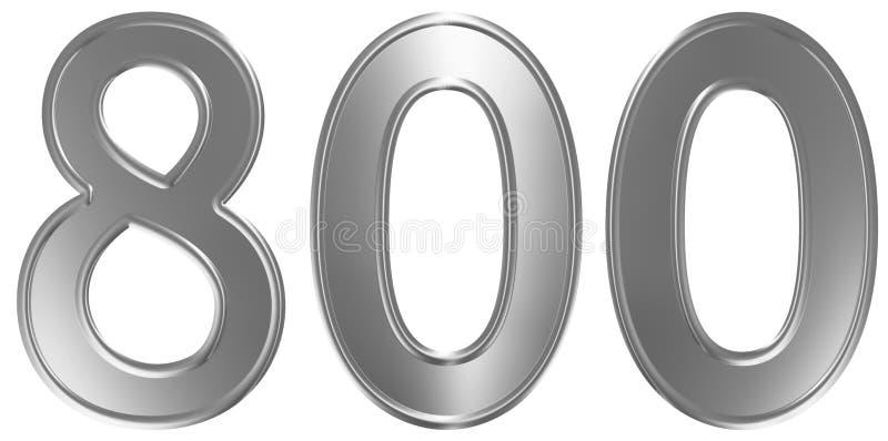 Liczebnik 800, osiemset, odizolowywający na białym tle, 3d odpłaca się ilustracji