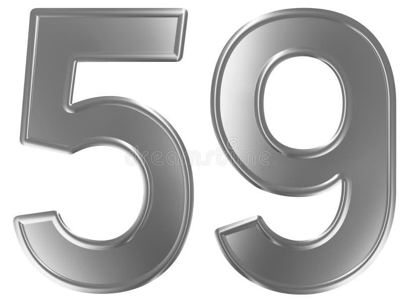Liczebnik 59, pięćdziesiąt dziesięć, odizolowywający na białym tle, 3d odpłaca się ilustracji