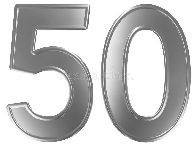 Liczebnik 50, pięćdziesiąt, odizolowywający na białym tle, 3d odpłaca się ilustracja wektor