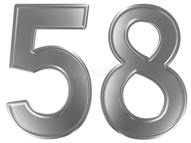 Liczebnik 58, pięćdziesiąt osiem, odizolowywający na białym tle, 3d odpłaca się ilustracja wektor