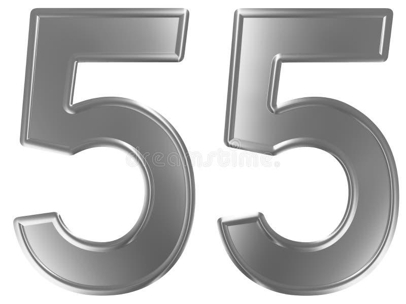 Liczebnik 55, pięćdziesiąt pięć, odizolowywający na białym tle, 3d odpłaca się ilustracji