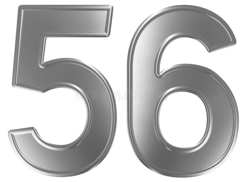 Liczebnik 56, pięćdziesiąt sześć, odizolowywający na białym tle, 3d odpłaca się ilustracji