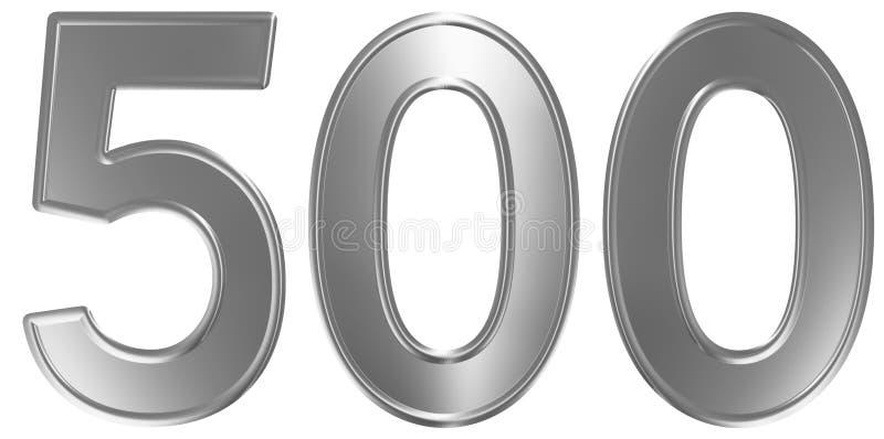 Liczebnik 500, pięćset, odizolowywający na białym tle, 3d odpłaca się royalty ilustracja