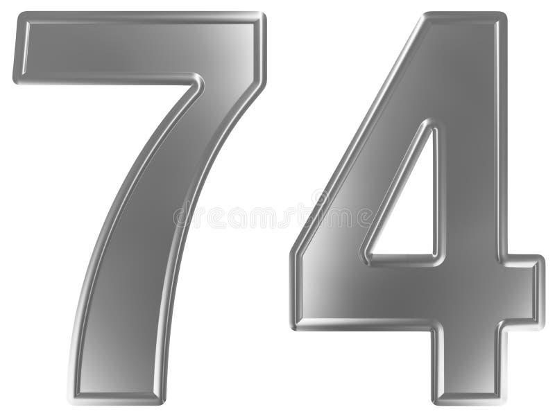 Liczebnik 74, siedemdziesiąt cztery, odizolowywający na białym tle, 3d odpłaca się ilustracja wektor