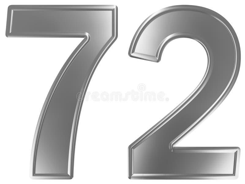 Liczebnik 72, siedemdziesiąt dwa, odizolowywający na białym tle, 3d odpłaca się royalty ilustracja