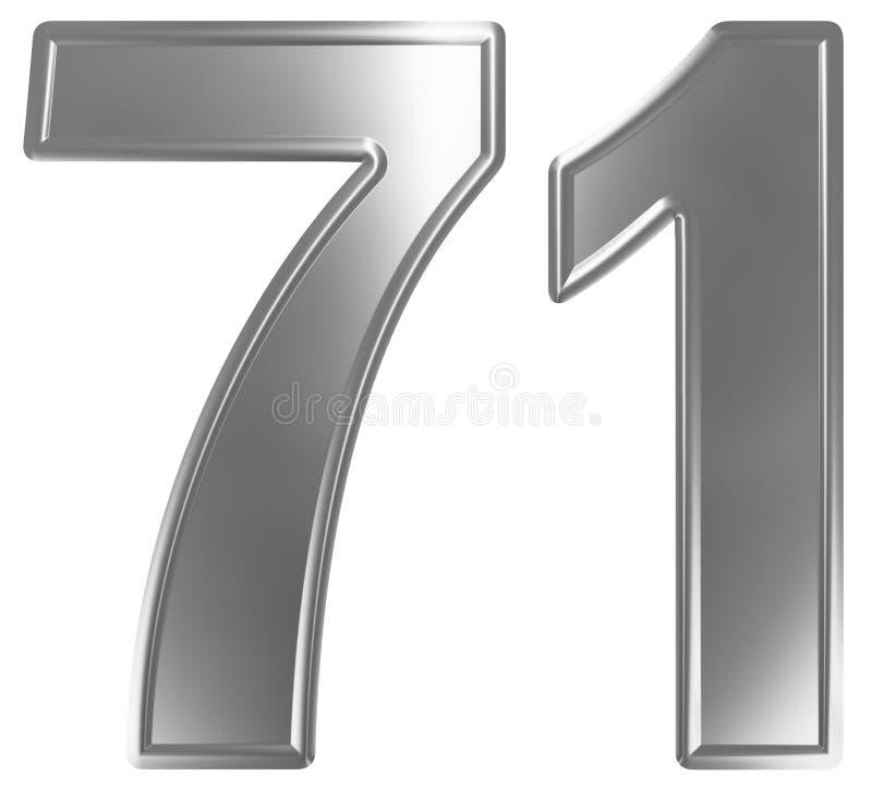 Liczebnik 71, siedemdziesiąt jeden, odizolowywający na białym tle, 3d odpłaca się ilustracja wektor