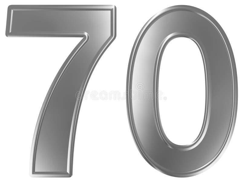 Liczebnik 70, siedemdziesiąt, odizolowywający na białym tle, 3d odpłaca się royalty ilustracja