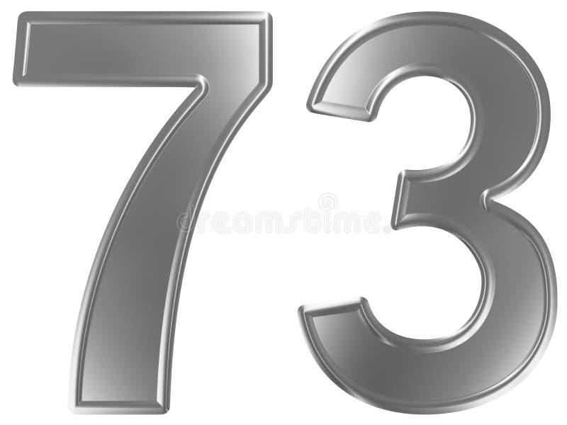 Liczebnik 73, siedemdziesiąt trzy, odizolowywający na białym tle, 3d odpłaca się royalty ilustracja