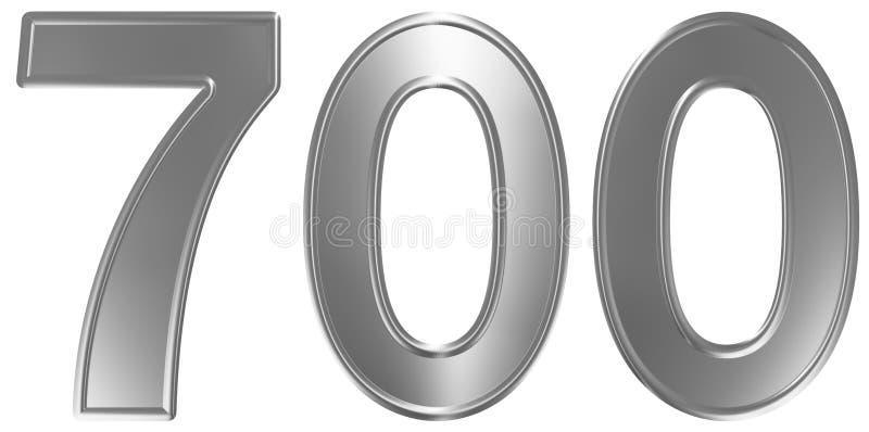 Liczebnik 700, siedemset, odizolowywający na białym tle, 3d odpłaca się ilustracji