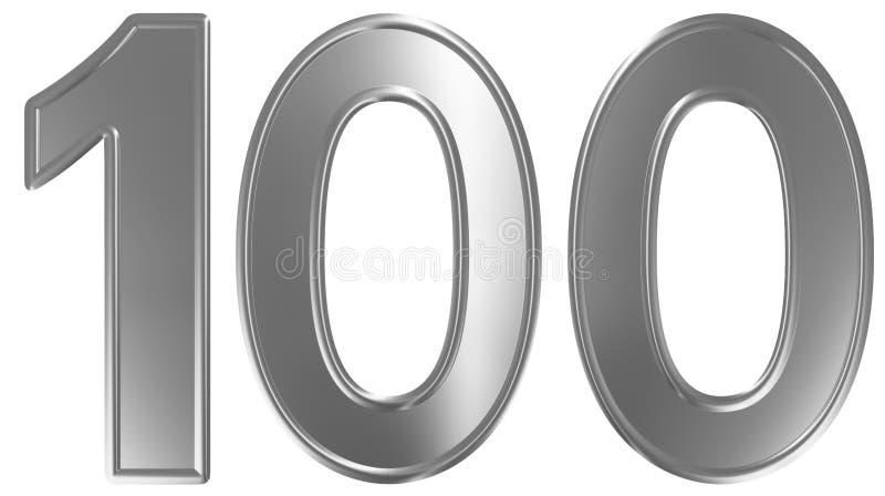 Liczebnik 100, sto, odizolowywający na białym tle, 3d odpłaca się ilustracja wektor