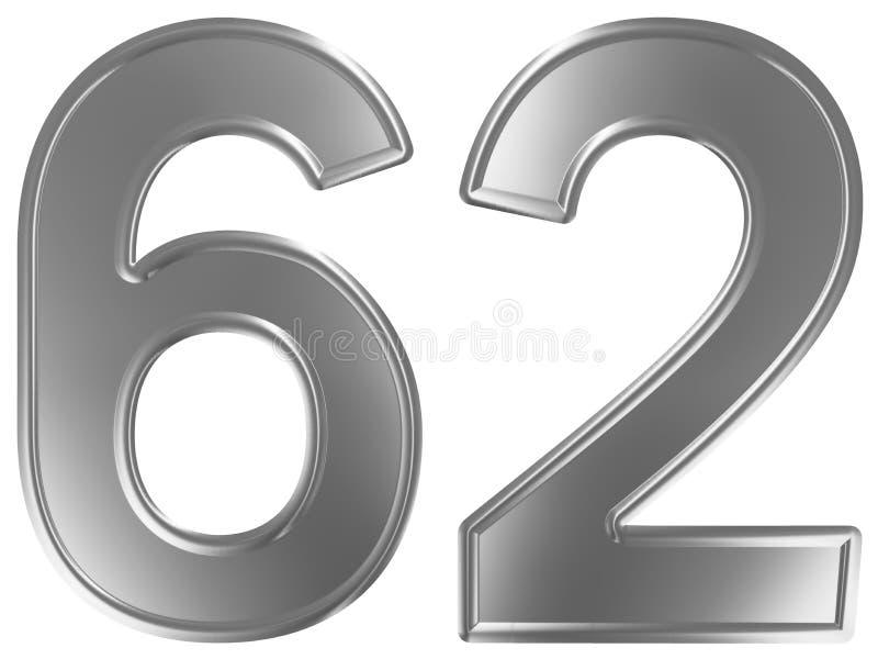 Liczebnik 62, sześćdziesiąt dwa, odizolowywający na białym tle, 3d odpłaca się royalty ilustracja