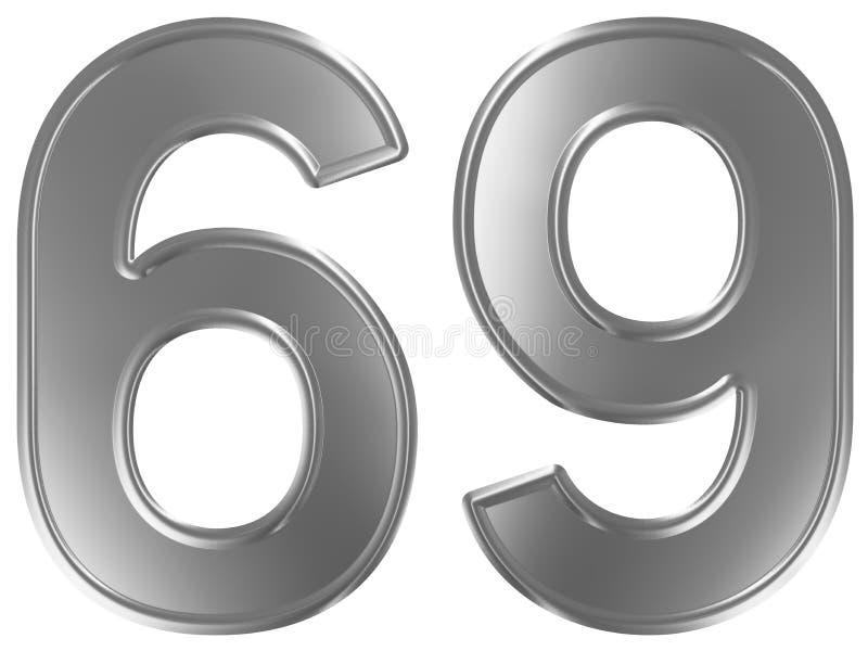 Liczebnik 69, sześćdziesiąt dziewięć, odizolowywający na białym tle, 3d odpłaca się ilustracja wektor
