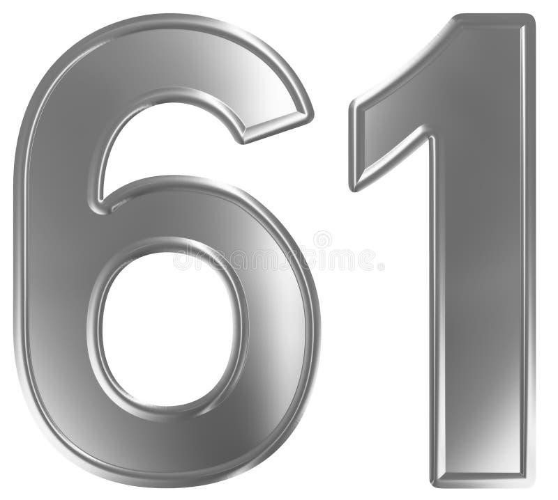 Liczebnik 61, sześćdziesiąt jeden, odizolowywający na białym tle, 3d odpłaca się ilustracji