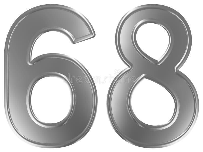 Liczebnik 68, sześćdziesiąt osiem, odizolowywający na białym tle, 3d odpłaca się ilustracja wektor