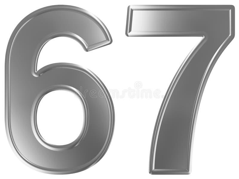 Liczebnik 67, sześćdziesiąt siedem, odizolowywający na białym tle, 3d odpłaca się royalty ilustracja