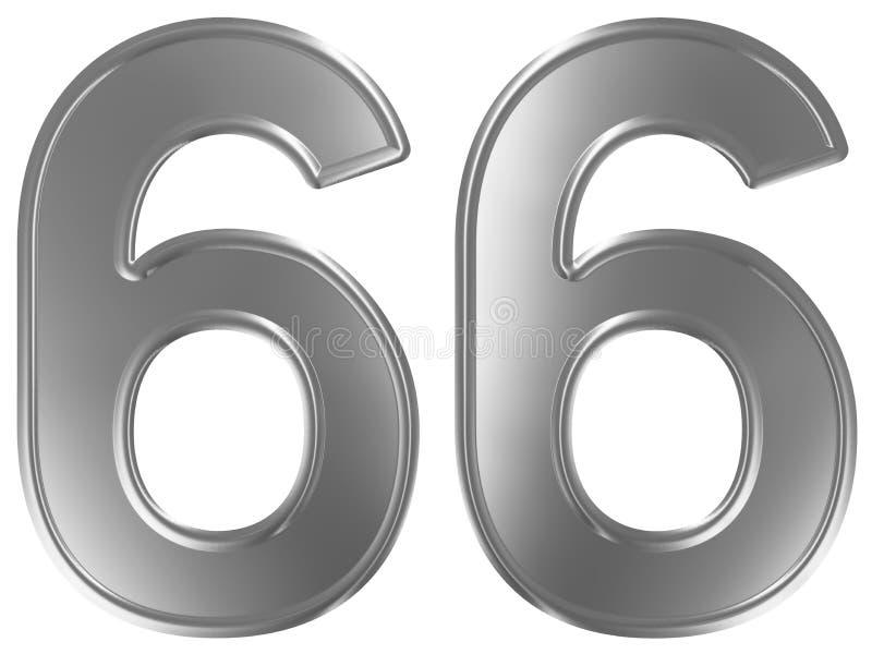Liczebnik 66, sześćdziesiąt sześć, odizolowywający na białym tle, 3d odpłaca się royalty ilustracja