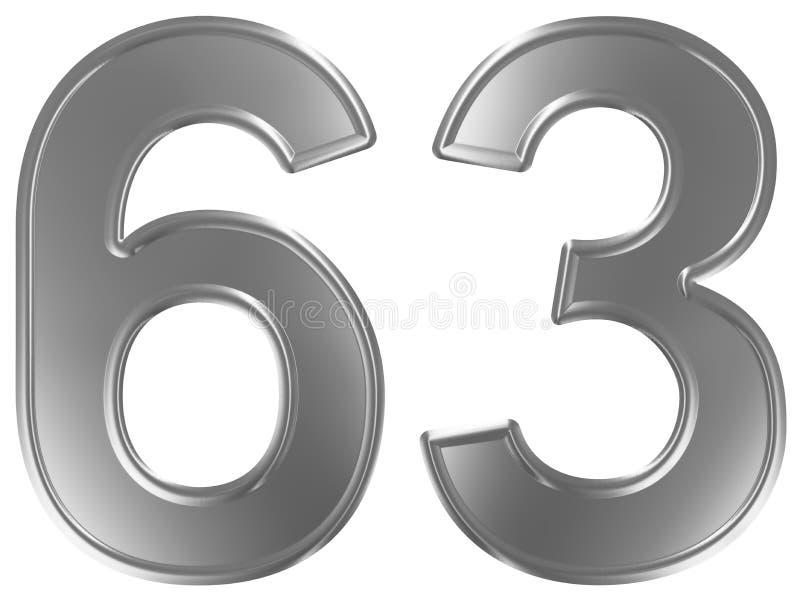 Liczebnik 63, sześćdziesiąt trzy, odizolowywający na białym tle, 3d odpłaca się royalty ilustracja