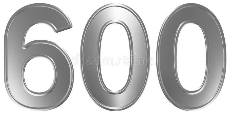 Liczebnik 600, sześćset, odizolowywający na białym tle, 3d odpłaca się ilustracji