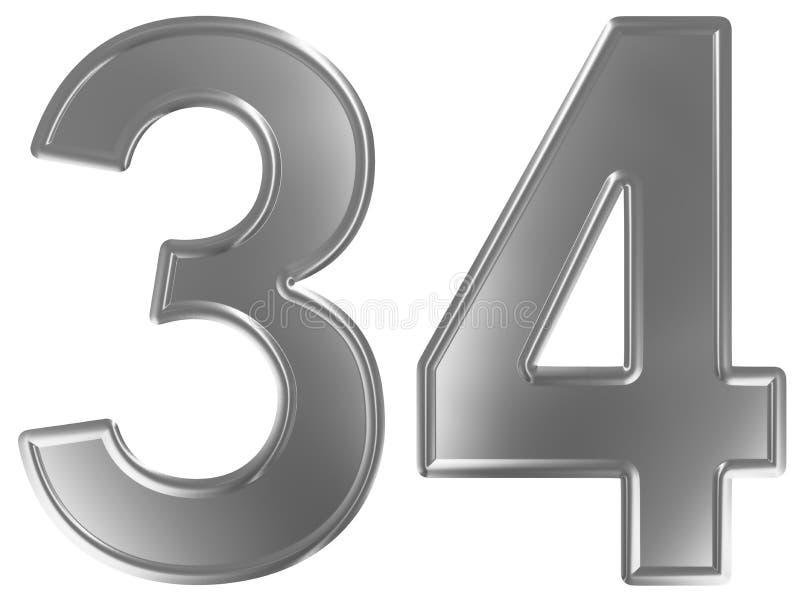 Liczebnik 34, trzydzieści cztery, odizolowywający na białym tle, 3d odpłaca się ilustracji