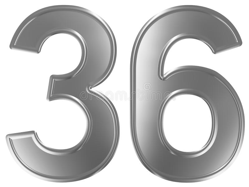 Liczebnik 36, trzydzieści sześć, odizolowywający na białym tle, 3d odpłaca się royalty ilustracja