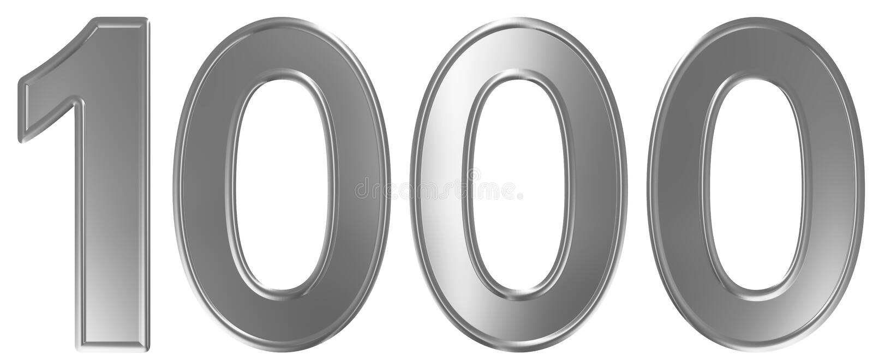 Liczebnik 1000, tysiąc, odizolowywający na białym tle, 3d odpłaca się ilustracji