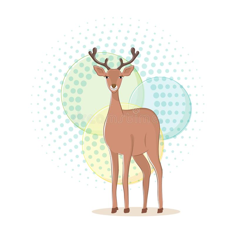 ?liczna jelenia kresk?wka p?aski charakter ilustracja wektor