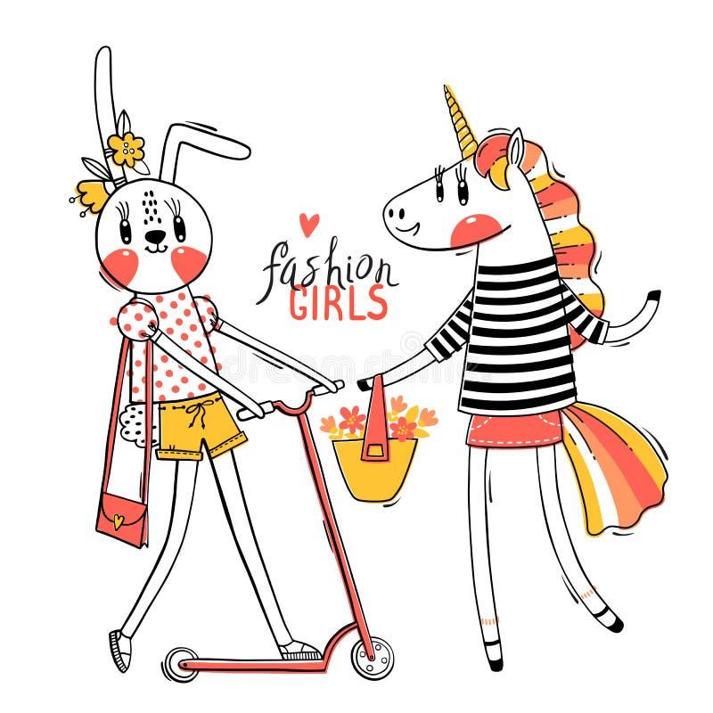 ?liczna karta z najlepszymi przyjaci??mi Dziecko królik i tęczy jednorożec w modnych ubraniach Kawaii zwierz? Mo?e u?ywa? dla t royalty ilustracja