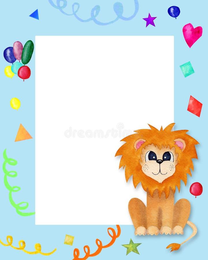 ?liczna kartka z pozdrowieniami dla dzieciak?w z lwem Dziecka błękita ramy Urodzinowy zaproszenie z miejscem dla teksta ilustracja wektor