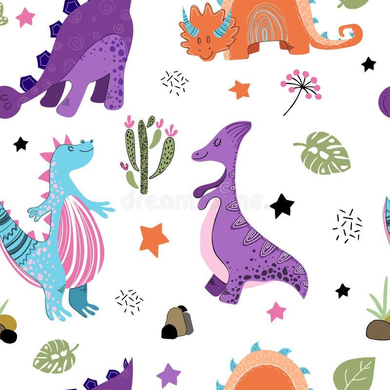 ?liczna kresk?wka Dino royalty ilustracja