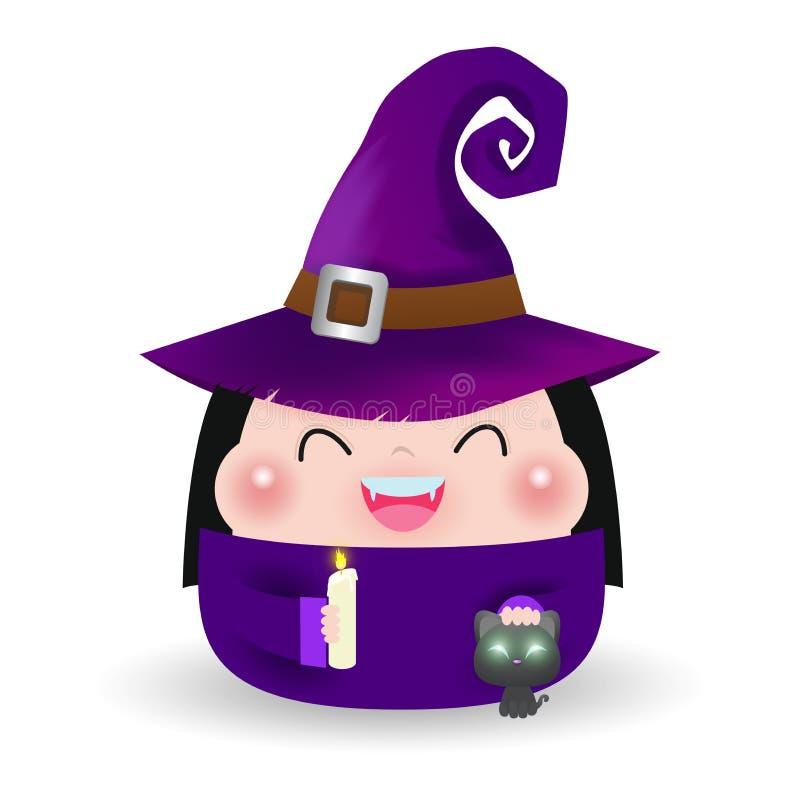 ?liczna ma?a czarownica Dziewczyna dzieciak w Halloweenowym kostiumu z czarnym kotem odizolowywającym na białym tle Halloweenowy  ilustracja wektor