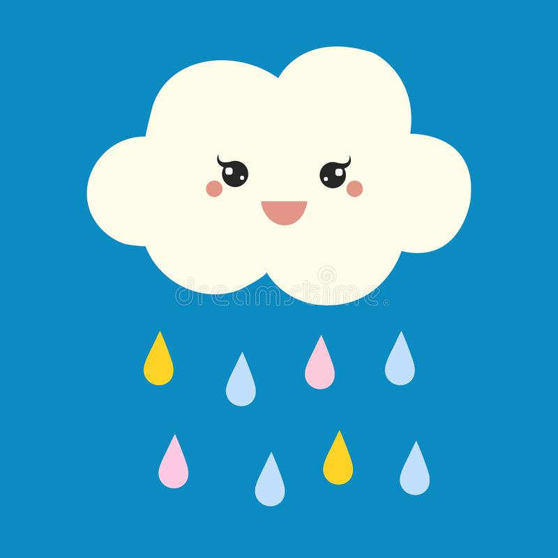?liczna Szcz??liwa chmura z deszcz kroplami, drukiem lub ikona wektoru ilustracj?, ilustracji